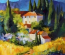 French Villlage with Cyprus Trees